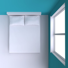Bed with pillows and  in the corner room with window.