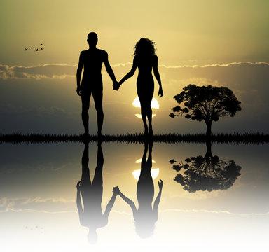 Adam and Eve in the eden