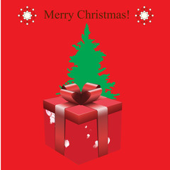Gift with Christmas background vector
