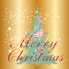 Christmas tree with Christmas background vector