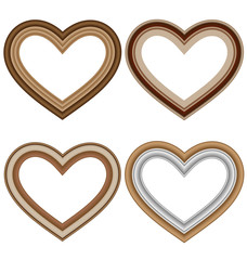 Four hearts love frames isolated on white background