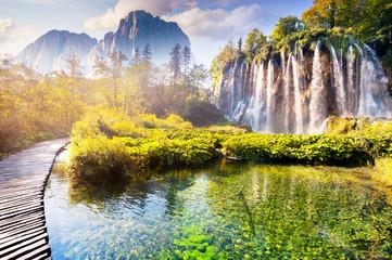 Obraz waterfall with turquoise water - fototapety do salonu