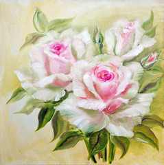 Vinage white pink roses.