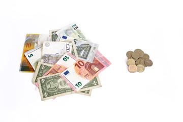 Euro Pound Dollar Swiss Franc against Russian Ruble coins