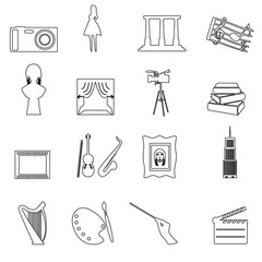 16 outline art vector icons set eps10