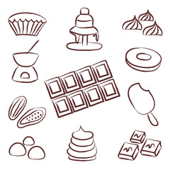 sweet chocolate doodle sketch icons set eps10