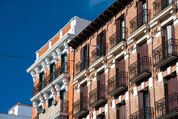 Facades in Madrid, Spain