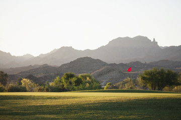 A golf course in Arizona, and a view to mountains.