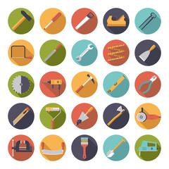 Crafting Tools Flat Design Vector Icons Collection