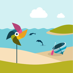 Summer beach day with pinwheel.