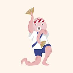 animal octopus summer cartoon theme elements