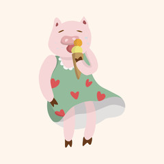 animal pig summer cartoon theme elements