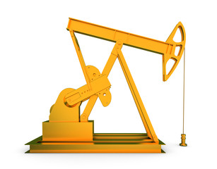 Gold oil rig on isolated white background 3D