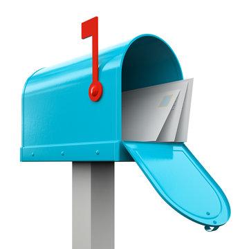 Retro  open blue mailbox isolated on white background