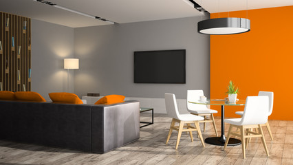 Modern interior with black sofa and orange wall 3D rendering