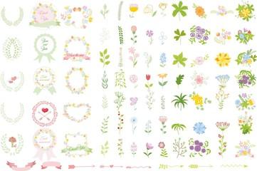 Набор свадебных графических SET- венок, цветы, стрелы, сердца,
