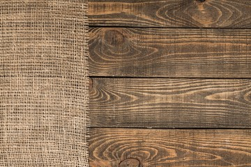Background Burlap Texture On Wooden Table