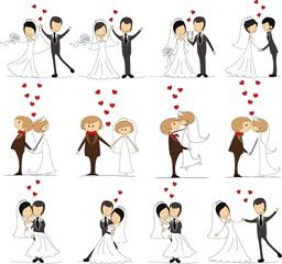 Набор свадебный каракули картины, невесты и жениха в любви