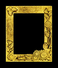 antique golden frame isolated on black background, clipping path