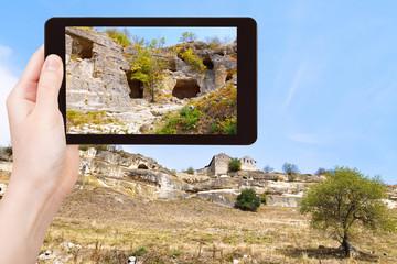 tourist photographs of town chufut-kale, Crimea
