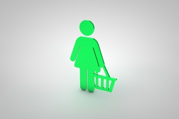 person with a basket in green 3d