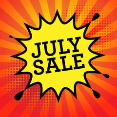 Comic explosion with text July Sale, vector