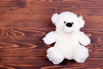cute teddy bear toy on the board top view