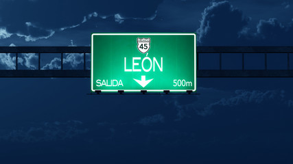 Leon Mexico Highway Road Sign at Night