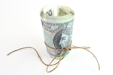 pieniądze polskie w rulonie
