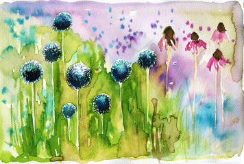 Photo sur Toile Inspiration painterly watercolor illustration depicting spring flowers in the meadow