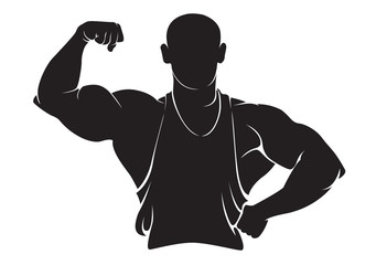 Bodybuilder. Vector silhouette isolated on white