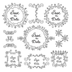 Vector set of hand draw, spring frames with decorative elements