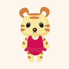 animal tiger summer cartoon theme elements