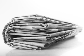 Articles. newspaper with news closeup on white background