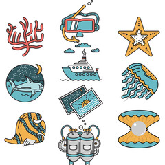 Sea leisure flat design icons