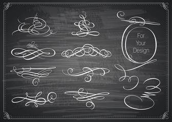 Set of calligraphic design elements. Chalkboard background.