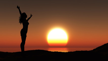 Female against a sunset ocean