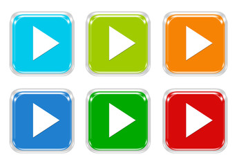 Set of squared colorful buttons with arrow symbol