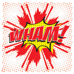 WHAM! wording sound effect set design for comic background