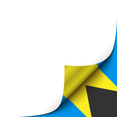 Curled up Paper Corner on Bahamian Flag Background. Vector