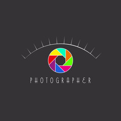 Abstract eye of the photographer logo, aperture of the camera