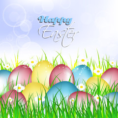 Easter card, painted eggs on a grass with flowers