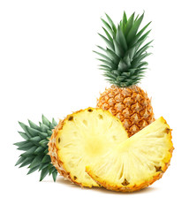Pineapple and pieces isolated on white background