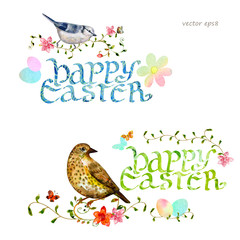 collection invitation cards with happy easter. watercolor