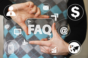 Business button FAQ connection communication virtual.