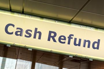 Cash Refund sign in Fiumicino airport, Rome
