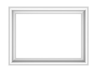 White picture frame isolated over white.