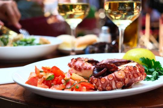 Octopus salad close up