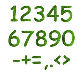 Herbal numbers on a white background