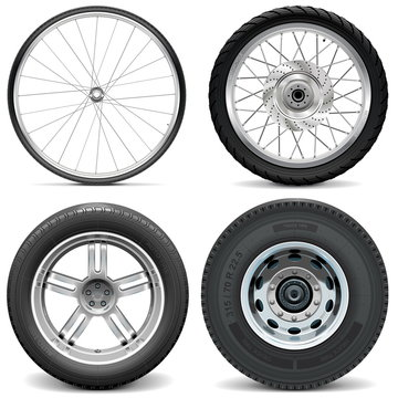 Vector Tires for Bicycle Motorcycle Car and Truck